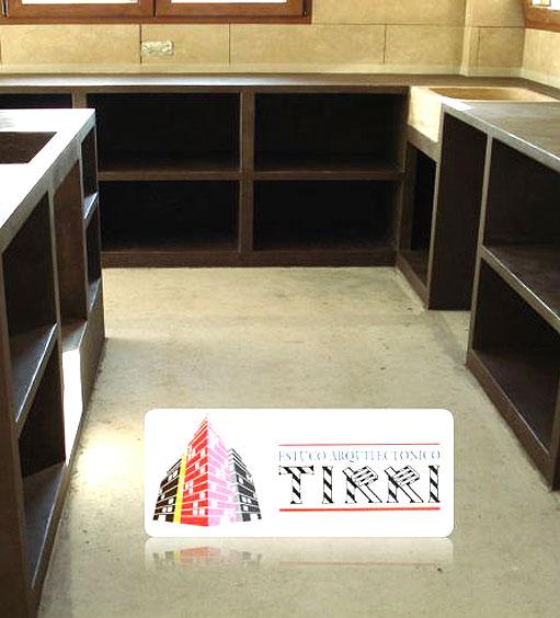 Ejemplo de trabajo realizado por Tirri en la aplicación de micromortero o microcemento en Muebles
