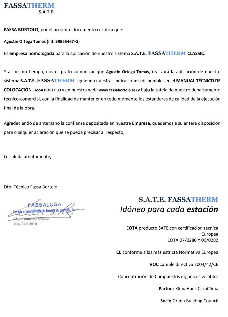 Homologación aplicación aislamiento térmico exterior sistema S.A.T.E. FASSATHERM CLASSIC